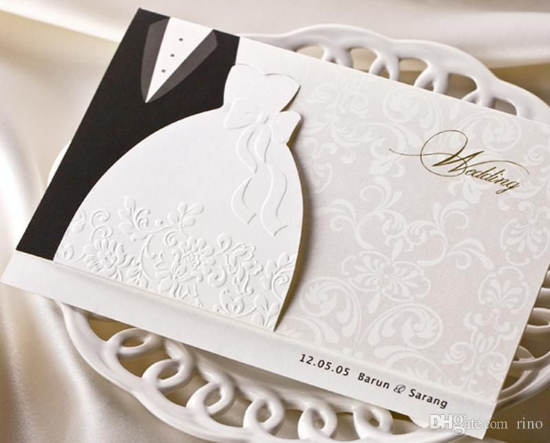 Personalized Wedding Invitations Cards Traditional Tuxedo Dress Bride Groom Design Diy With