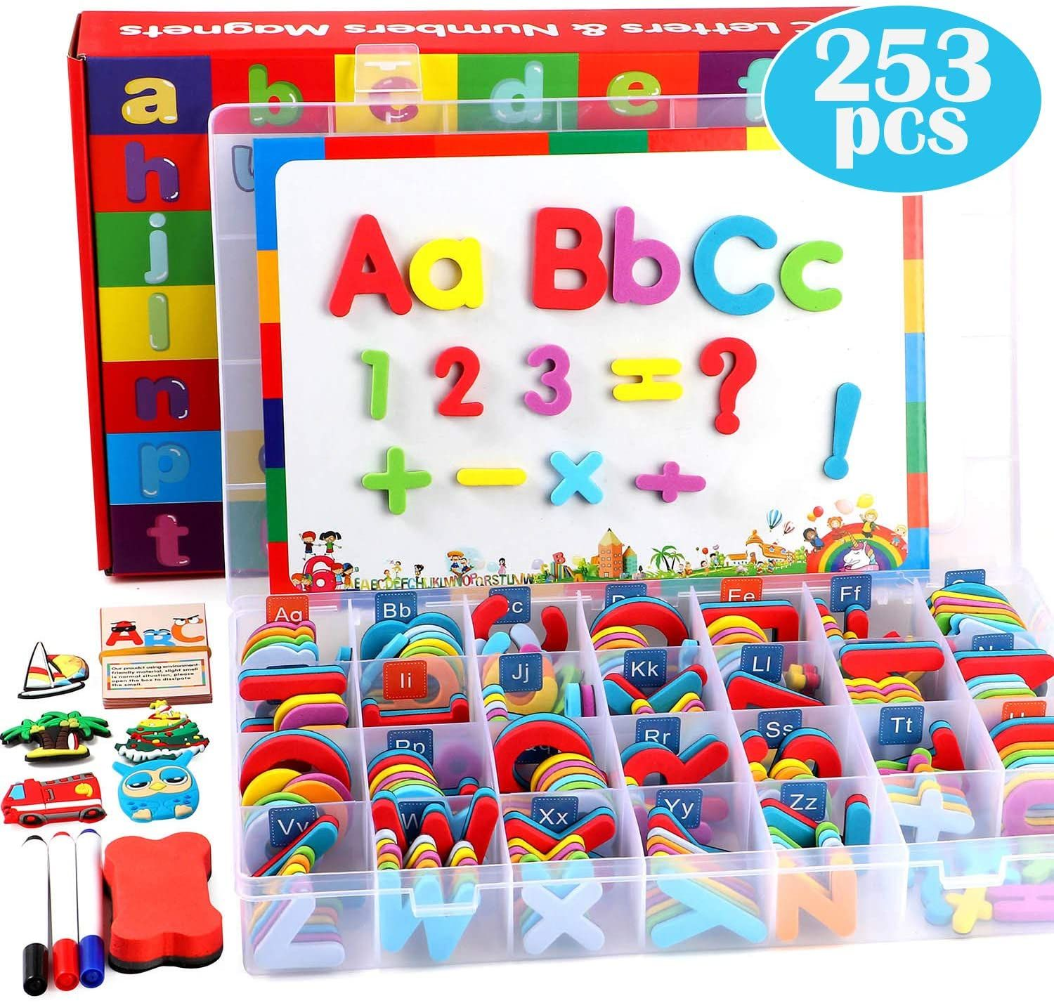 253 Pcs Magnetic Letters Numbers With Magnetic Board And Storage Box Foam Alphabet Abc Refrigera In 2020 Educational Toys For Kids Letters And Numbers Magnetic Letters