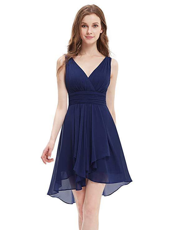 Ever-Pretty Womens V Neck Short Empire Waist Party Dress 10 US Navy Blue  Junior 8c4b60fc3c