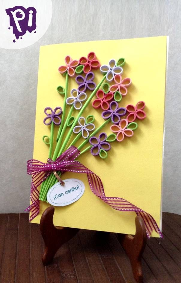 Pintaideas Tarjeta Ramo De Flores De Filigrana Quilling Flowers Bouquet Card Tarjeta Tarjeta De Cumpleanos Mama Manualidades Tarjetas Para Mama Manualidades