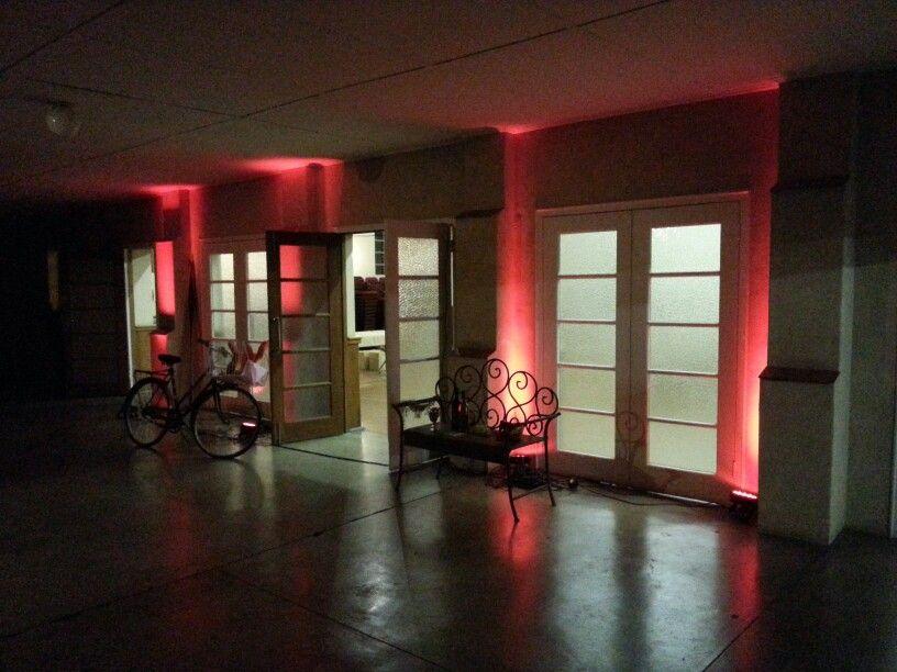 Red uplights at entrance Atlanta lights