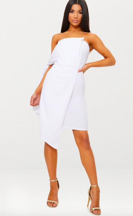 PRETTYLITTLETHING Nude Tie Detail Wrap Front Bandeau Midi Dress Shipping Discount Sale 2018 Cheap Price Cheap Sale Wholesale Price Cheap Marketable FhLAh5aP