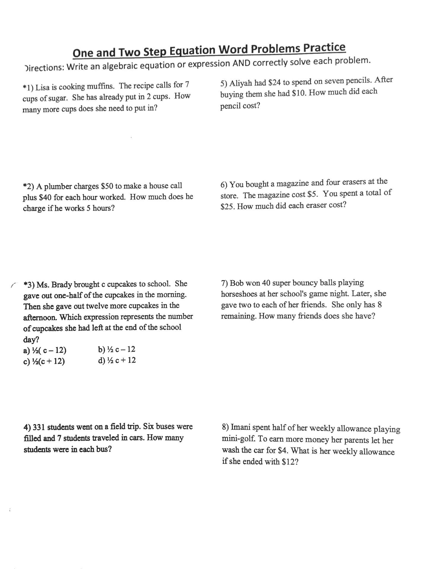 Multi Step Word Problems Grade 5 Worksheets 4th Grade