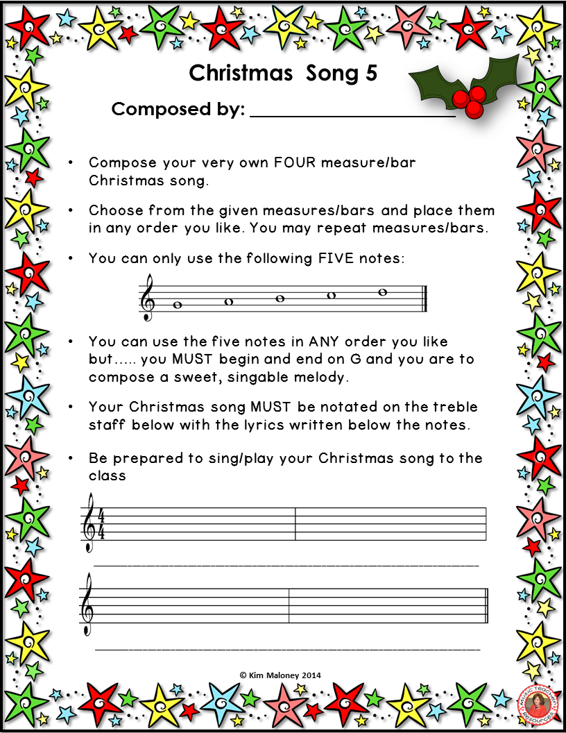 Christmas Music Activities Composition Activities For Christmas