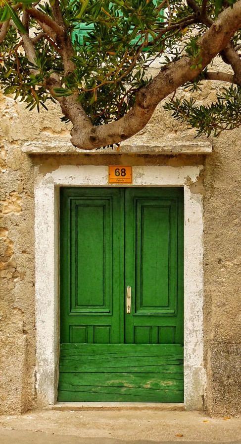 Baška, Krk, Croatia doors, Green door, Green