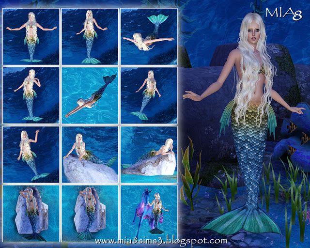 24 Mermaid Poses - Mia8 | Sims 3 | Pinterest | Mermaid ...