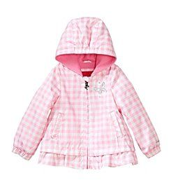 London Fog® Baby Girls' Checkered Printed Jacket