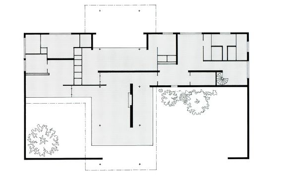 Mies brick country house plan home design and style for Brick house floor plans