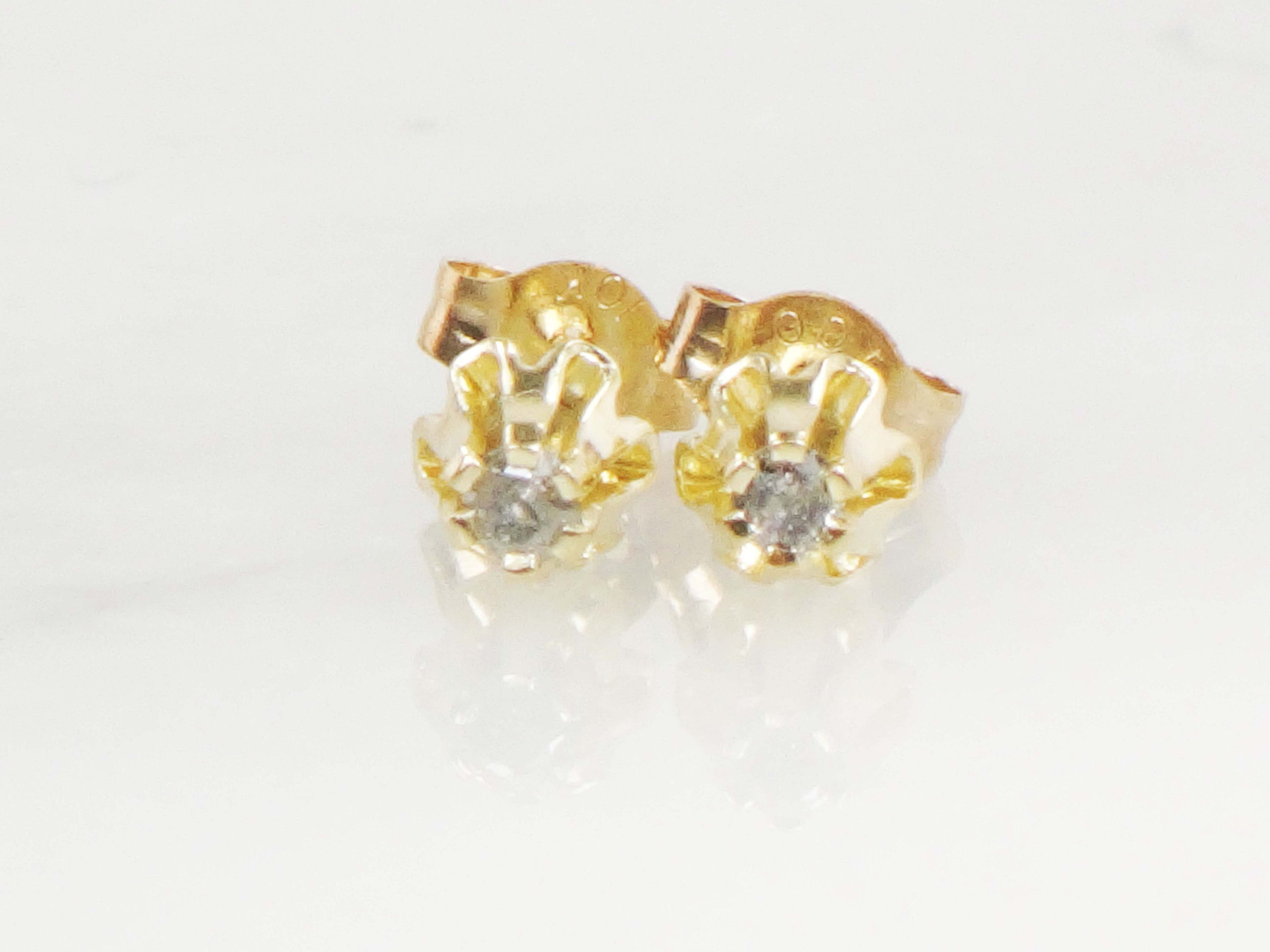 Vintage Diamond Stud Earrings Post Back Tiny Diamond Earrings Etsy In 2020 Small Earrings Studs Tiny Diamond Earrings Stud Earrings