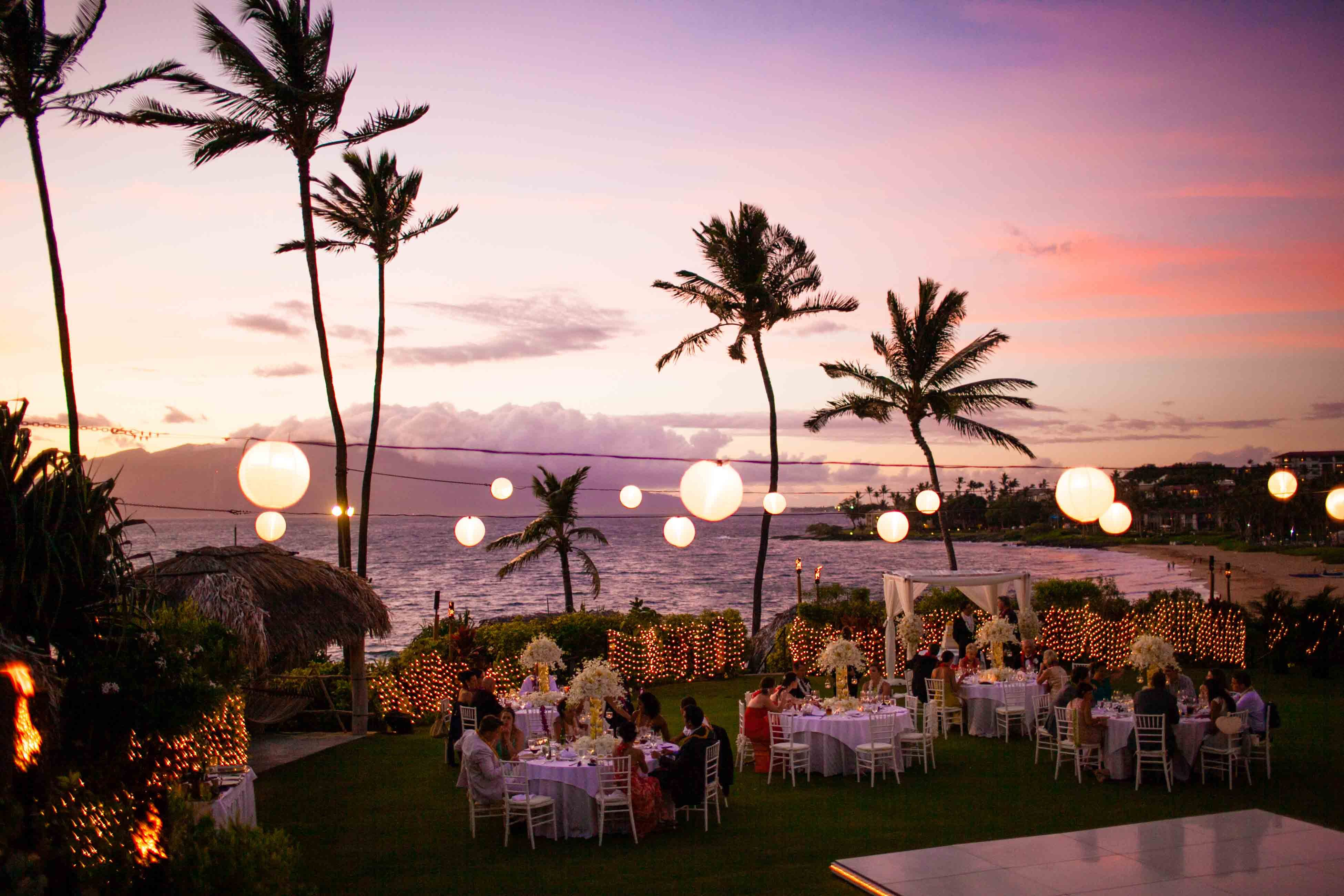 Square tables with rectangular head table chameleon chairs canopy of lights Four Seasons Resort Hualalai Weddings in Garden Lawn Pinterest