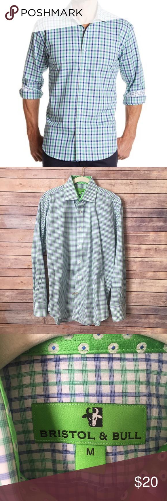 Green checkered dress shirt  Bristol u Bull Checkered Classic Fit Sport Shirt M  Bulls shirt