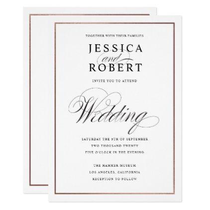 Elegant Script Faux Rose Gold Border Wedding Card