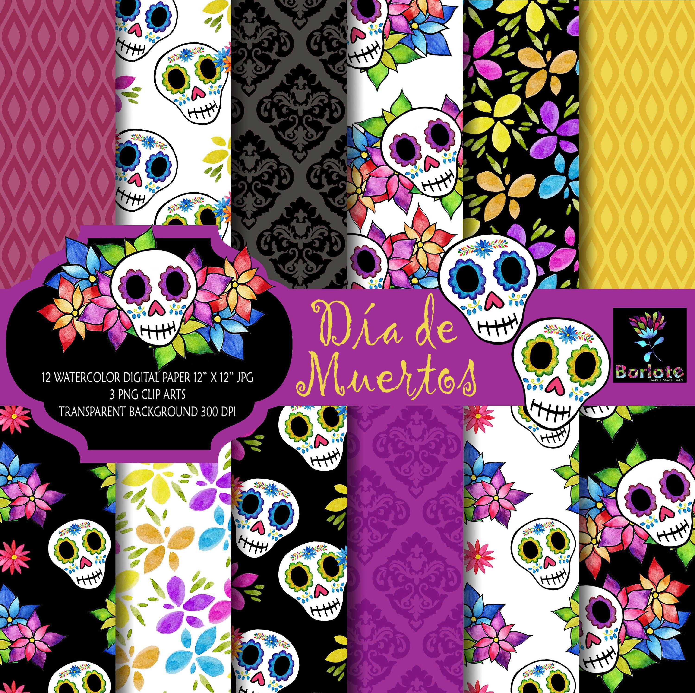 Día de los Muertos, Día de muertos, Cráneo de acuarela, Cráneo de azúcar, flores de acuarela, papel digital, scrapbooking, fondo floral