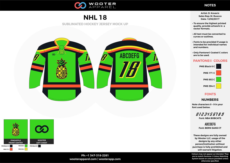 NHL 18 green black red yellow hockey uniforms jerseys  9e9edc3ab51