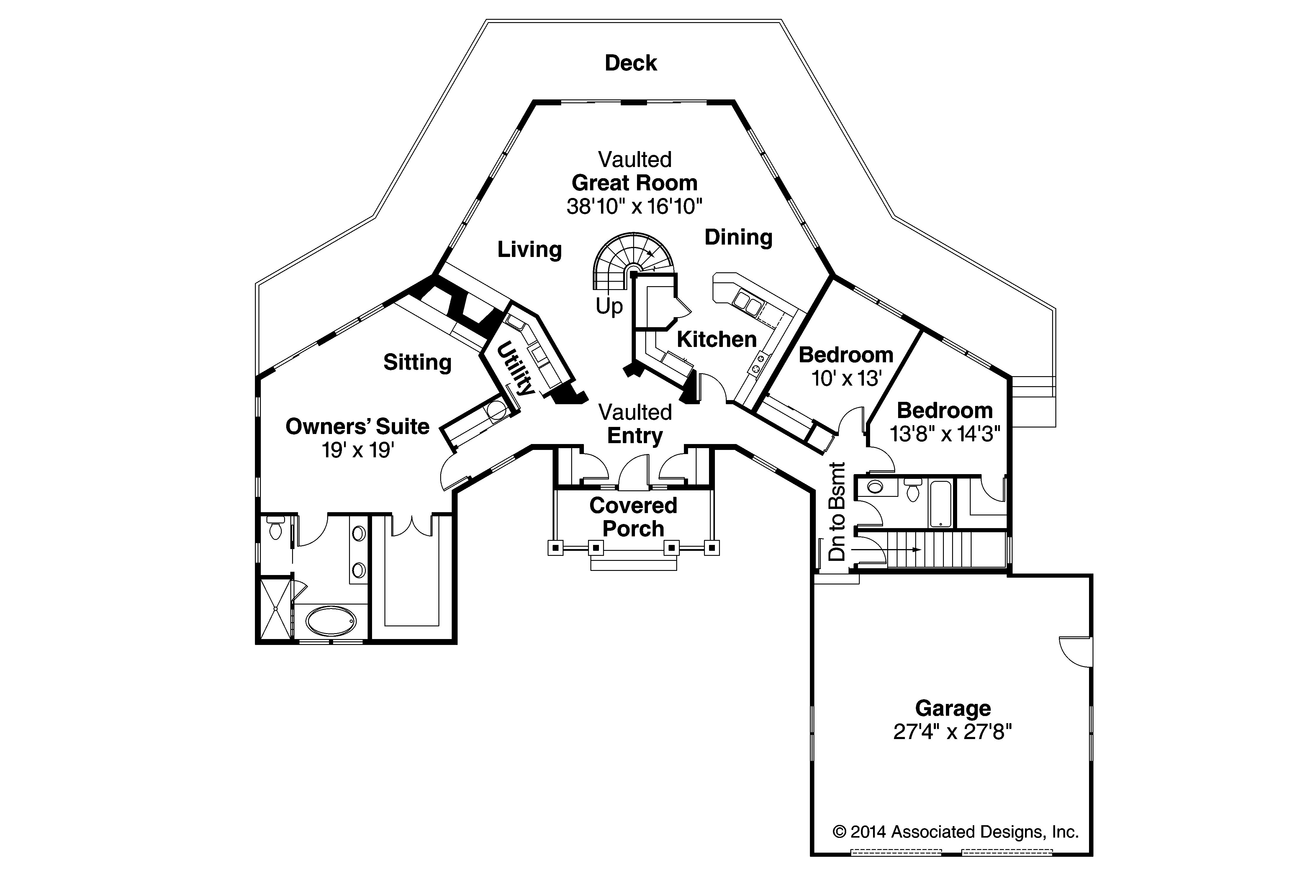 Craftsman House Plan with Hexagonal Core - McCarren 10-509 by ...