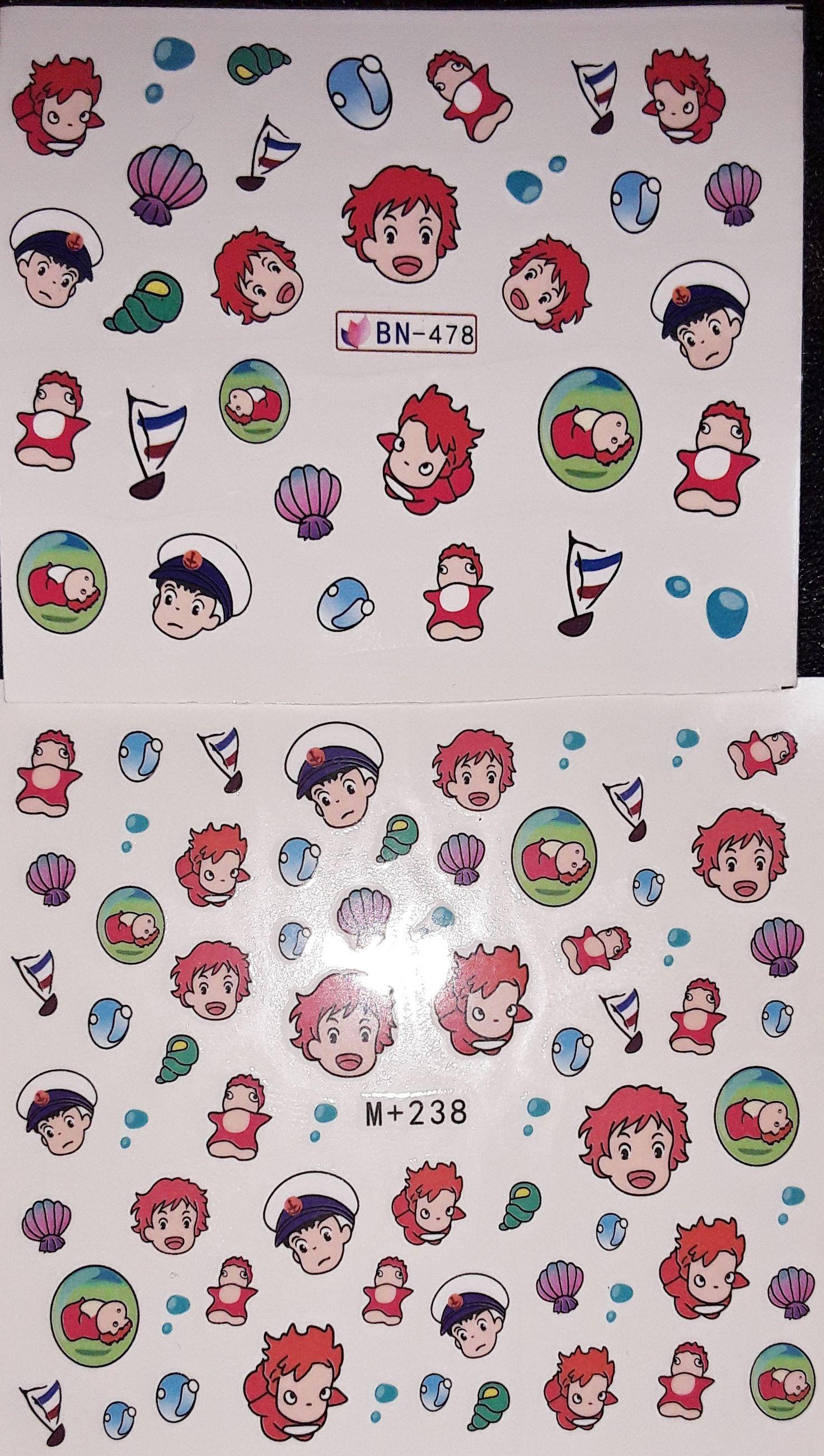 Gudetama Pucca Sailor Moon Ghibli Totoro Ponyo Nail Decal Sticker