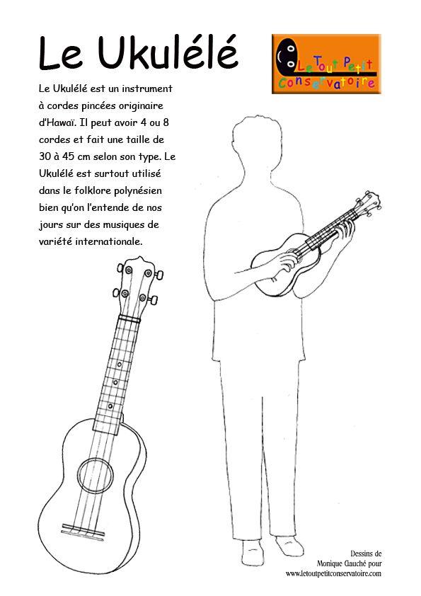 Coloriage Facile Instruments.Le Ukulele En Francais Musique Ukulele Et Classe De Musique
