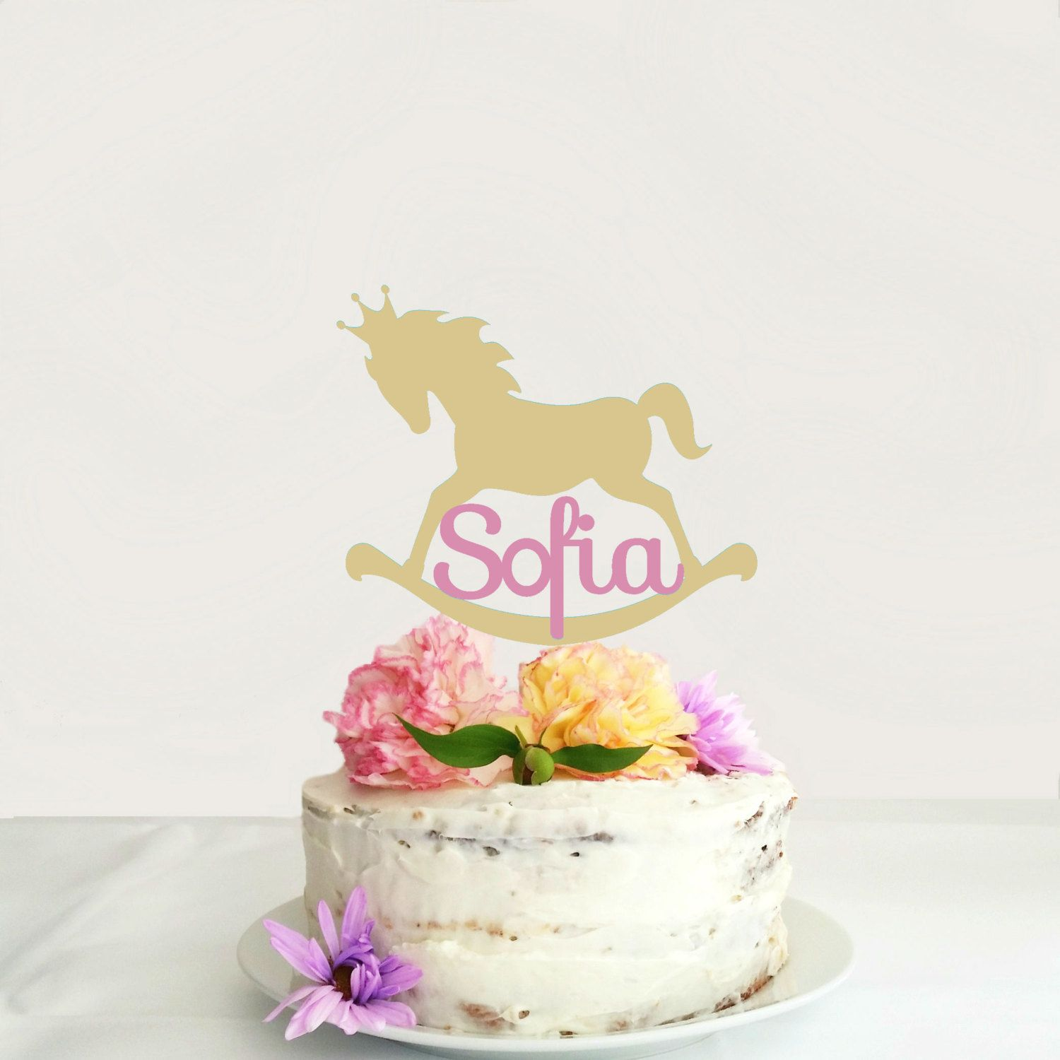 Personalized Rocking Horse Birthday cake topper Girls or Boys