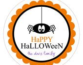 Personalized Halloween Stickers . DANGLING SPIDER Round Stickers for Favors, Address Labels, Treat Bags or Packaging . 2, 2.5 or 3.3 inches