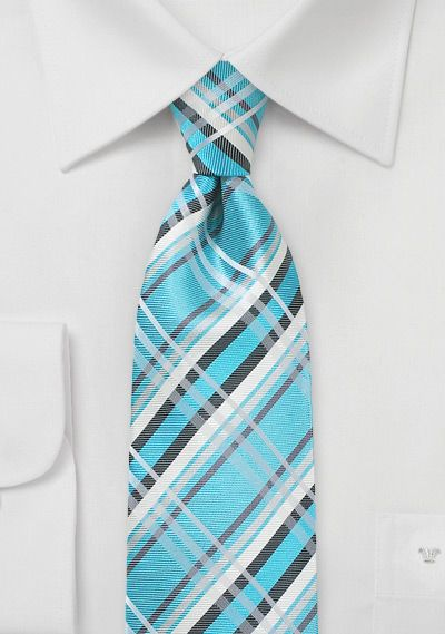 Aqua Blue And Silver Plaid Tie