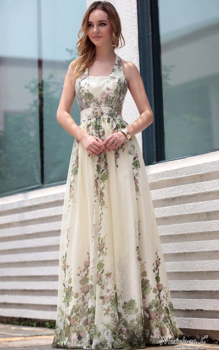 Off-white Halter Floral Print Floor Length Gowns Evening Dress ...