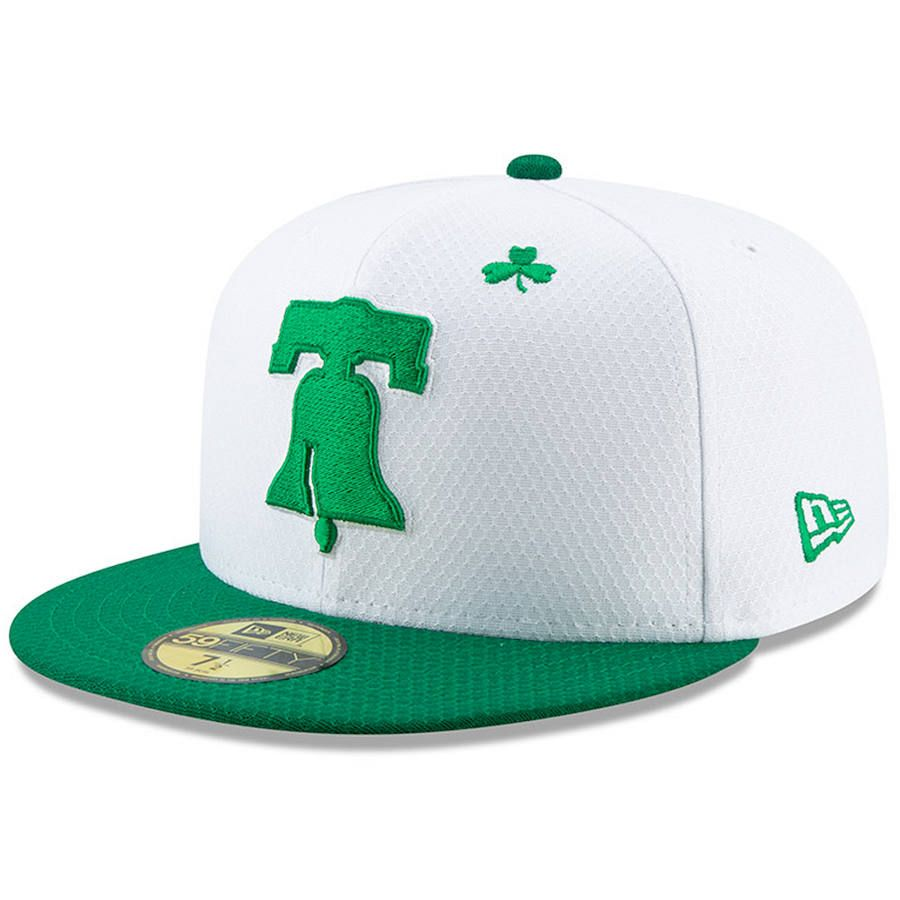 check out 99679 3df1a Men s Philadelphia Phillies New Era White Kelly Green 2019 St. Patrick s  Day On-Field 59FIFTY Fitted Hat,  39.99