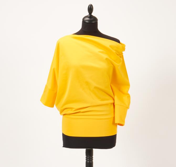 Nähanleitung und Schnittmuster für ein gelbes Shirt mit seitlichem ...