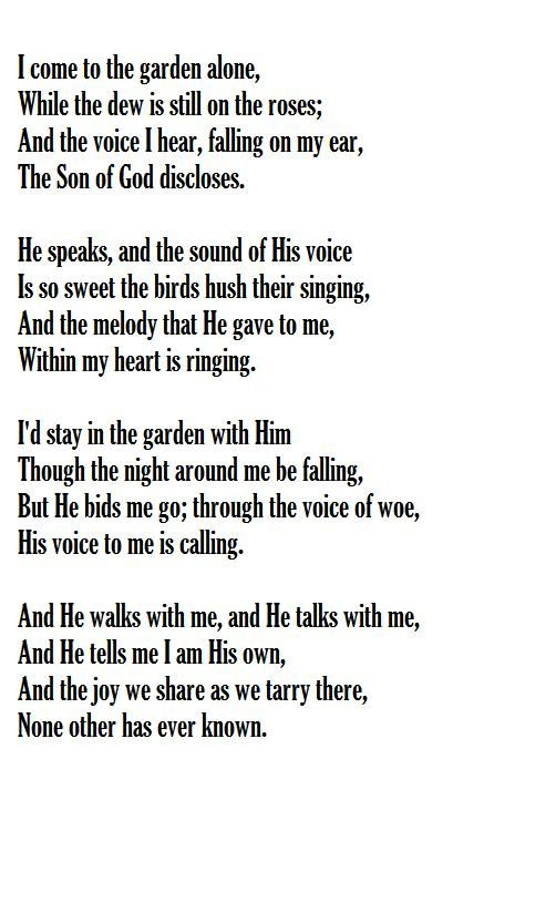 In The Garden Words Music C Austin Miles March 1912 Praise Songs Alone Lyrics Hymns Of Praise