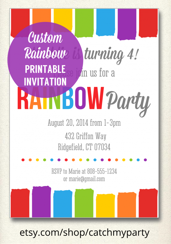 Free Printable Rainbow Birthday Party Invitations Tirevi