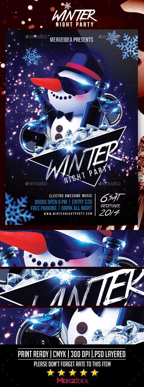 Winter Night Party Flyer  Party Flyer Night Parties And Winter Night