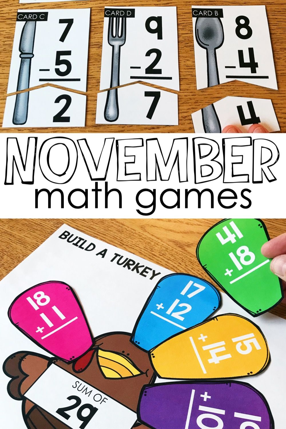 November Math Centers and Activities for 2nd Grade Math
