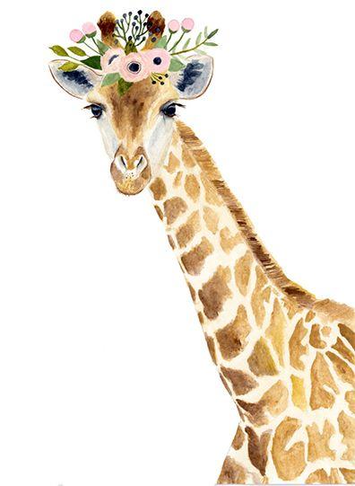 Jirafa acuarela, bosque vivero, pinturas de animales, zorro, oso, jirafa animal, acuarela de ciervos, cervatillo, los niños carteles, bandera de vivero