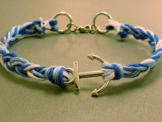 Anchor Charm Bracelet Blue and White Sailor by CraftsbyBrittany, $8.00