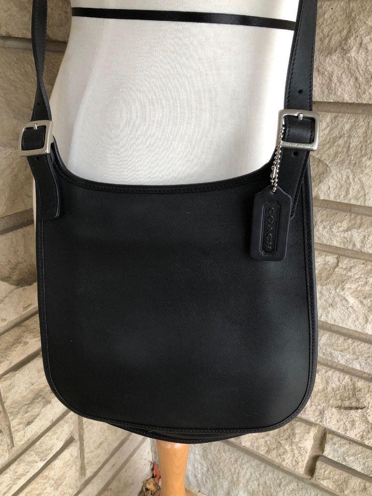 82cf48b196 COACH Vintage Black Leather Slim Flap Saddlebag Crossbody Messenger Bag   9131