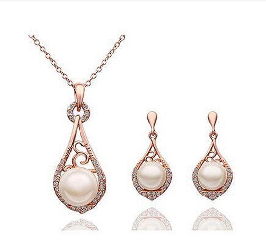 Vintage Inspired Teardrop Pearl Necklace Earrings Wedding Jewelry Set