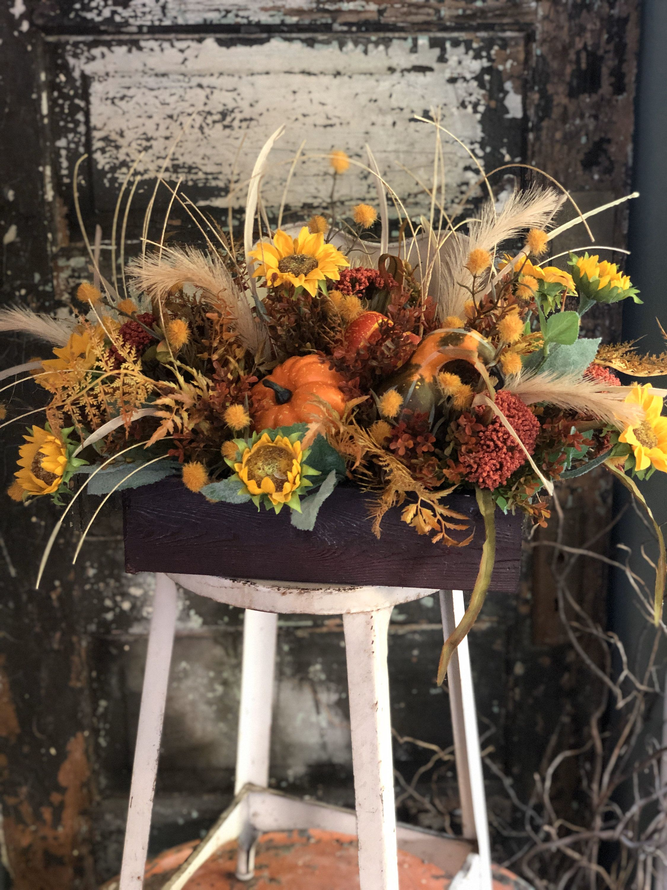 The Dana Fall Farmhouse Centerpiece For Dining Table~autumn arrangement~thanksgiving centerpiece~sunflower centerpiece~wildflowerarrangement #sunflowerchristmastree