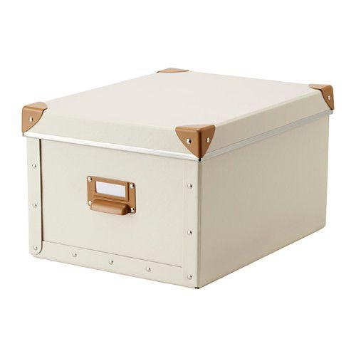 FJÄLLA Kasse med låg IKEA Velegnet til papirer, fotos og souvenirs. Boksen har et håndtag og er nem at trække ud.
