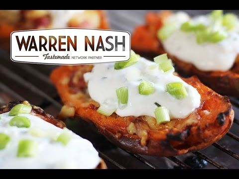 Sweet Potato Skins Recipe - Loaded with Cheese & Bacon - Recipes by Warren Nash - YouTube