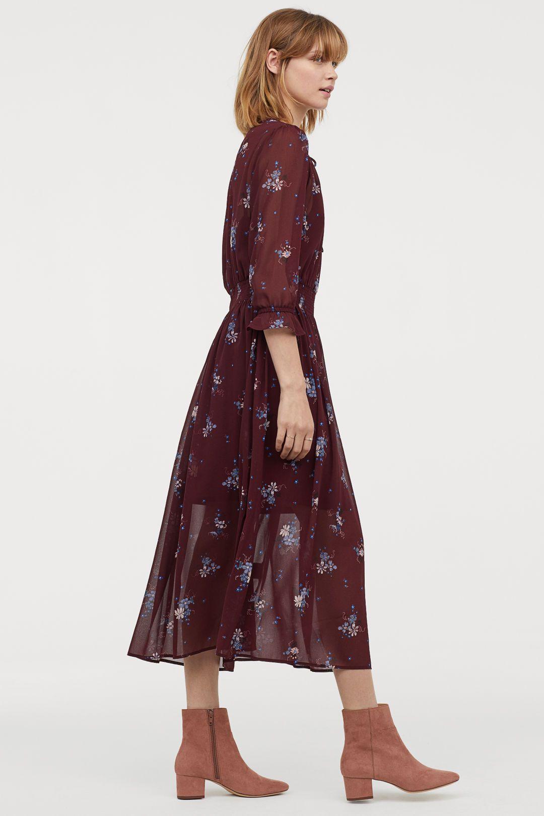 45ab8e7d07bc Mönstrad klänning | hm | Dress patterns, Calf length dress, Dresses