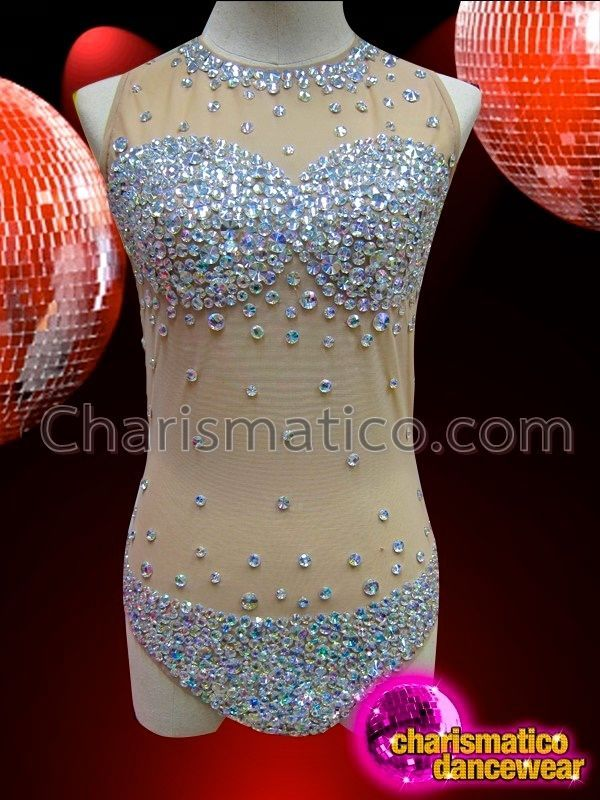 Showgirl/'s scale patterned sequined purple dance leotard with beaded details