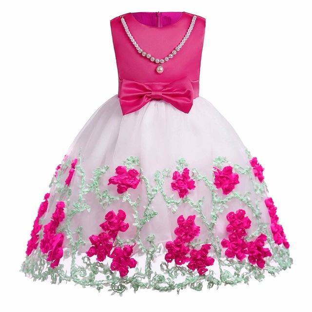 a3030566c Girls floral Princess Party Dress Children Birthday Wedding clothes Summer  Toddler baby Dresses 2 3 4 5 6 7 8 9 10 Kids Clothes