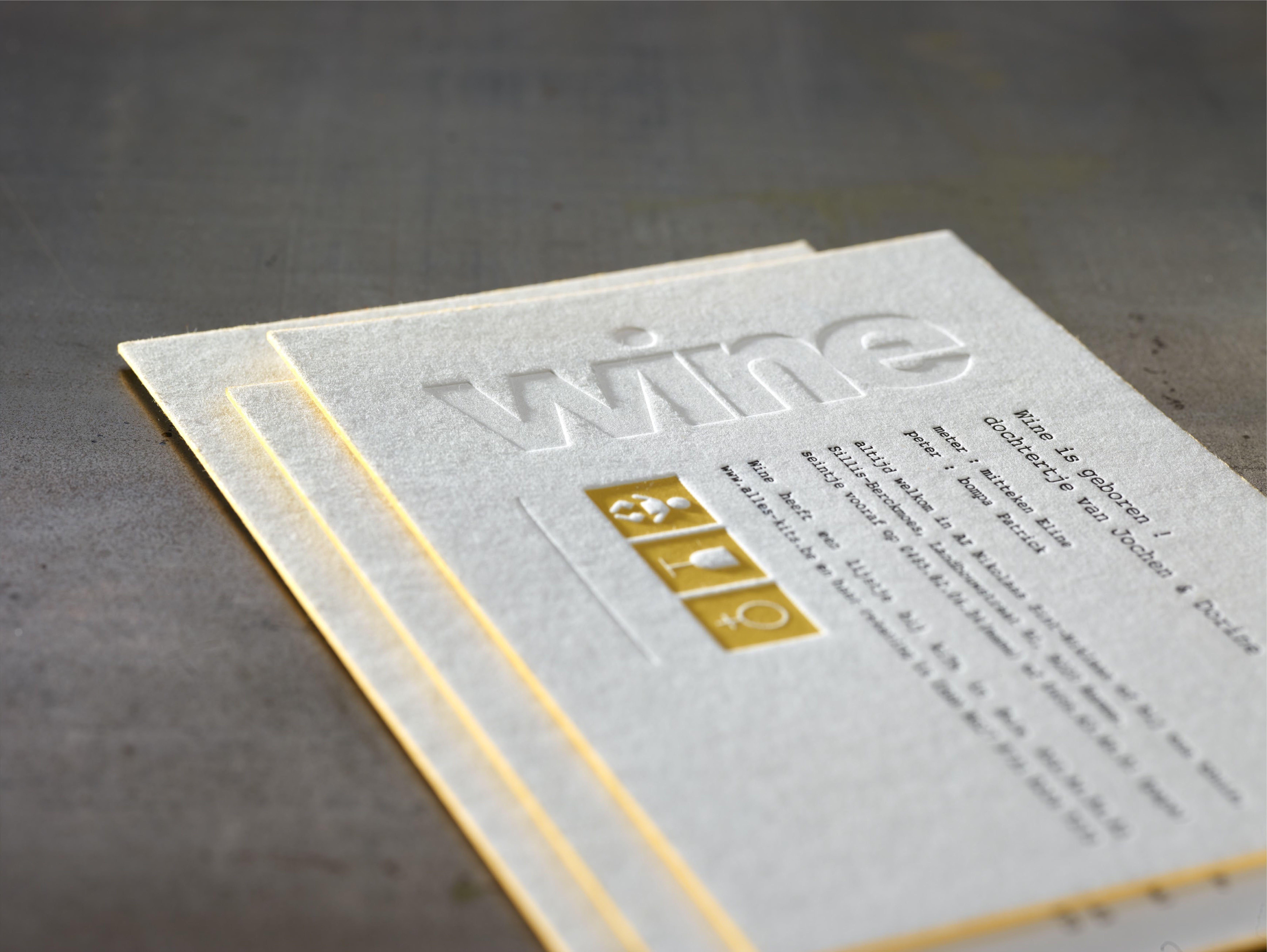 birth announcement card wine letterpress printing 3 colors edge