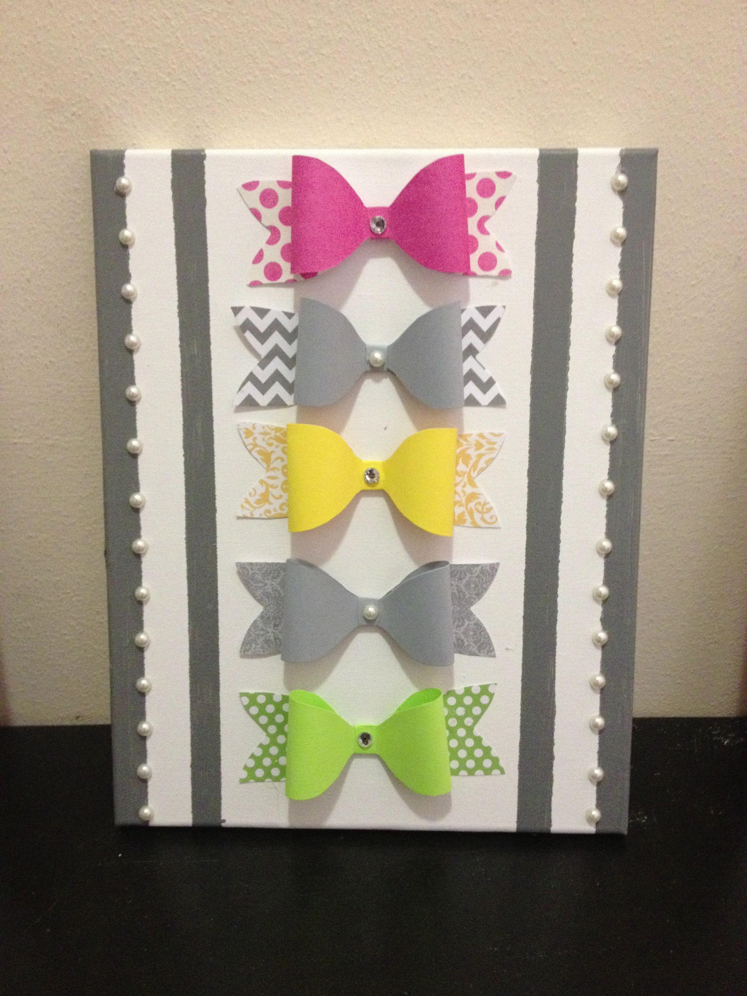 Paper bow canvas art for my new apartments bedroom walls diy arts