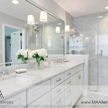 White Cabinets With Marble Countertops Contemporary Bathroom Ma Allen Interiors