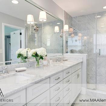 White Cabinets With Marble Countertops Contemporary Bathroom Ma Allen Interiors Gray Wallsbathroom
