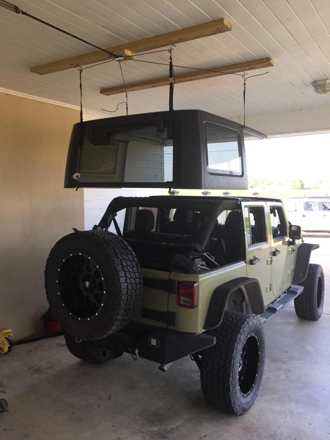 Harken Jeep Wrangler Hoister Garage Storage 4 Point Lift System 7803 Jeep In 2020 Jeep Wrangler Jeep Doors Jeep Garage