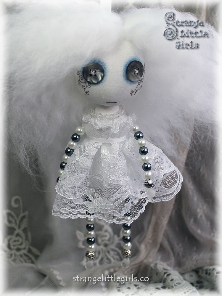 Gothic 'Beady Doll' button eyed cloth art doll - Banshee Beady by Strange Little Girls