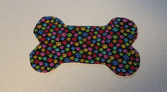 Paw print dog food and water placemat  dog by PawsitiveShopping