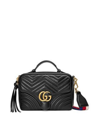 08b18aa303de Gucci GG Marmont Small Chevron Quilted Leather Top-Handle Camera Bag with  Web Strap