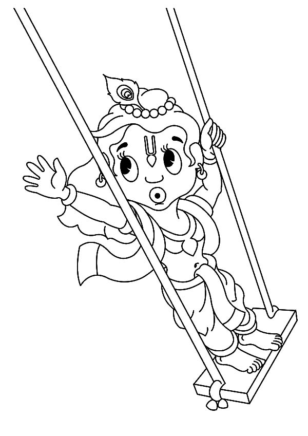 Krishna Playing Swing Coloring Pages Download Print Online Coloring Pages For Free Color Nimbu Online Coloring Pages Coloring Pages Art Drawings For Kids